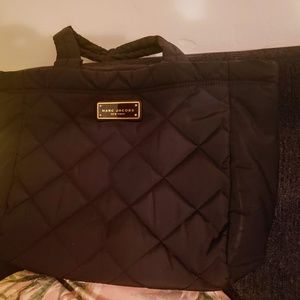 MARC JACOBS Black Quilted Nylon CROSBY Small Tote